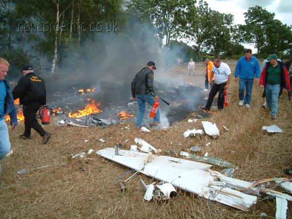 Remote control B-52 aircraft crash site