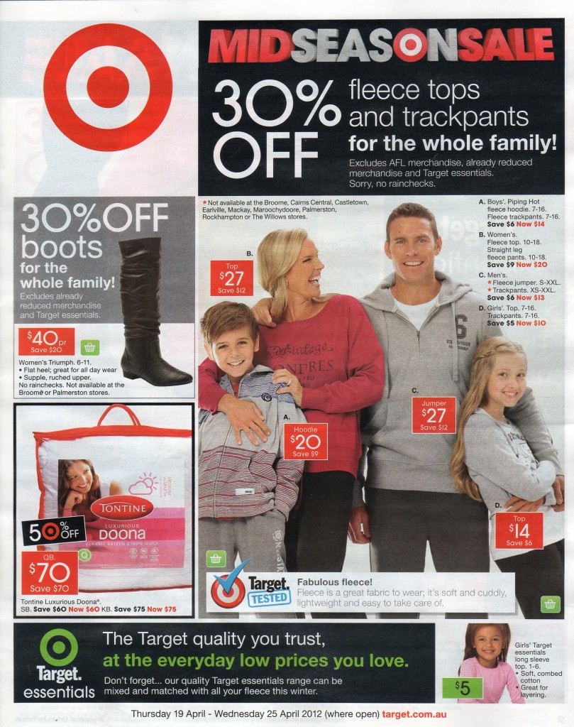 Target catalogue with 3 arm mens fleece jumpers