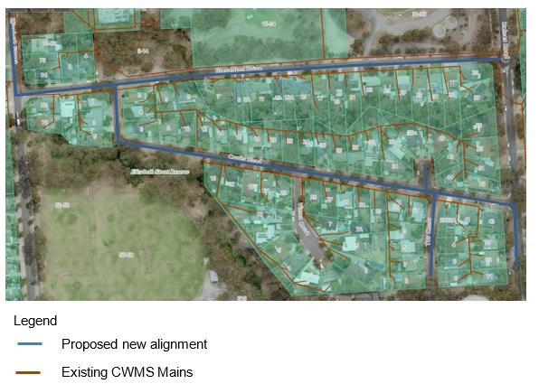 Proposed realignment of sewage system in Banksia Park